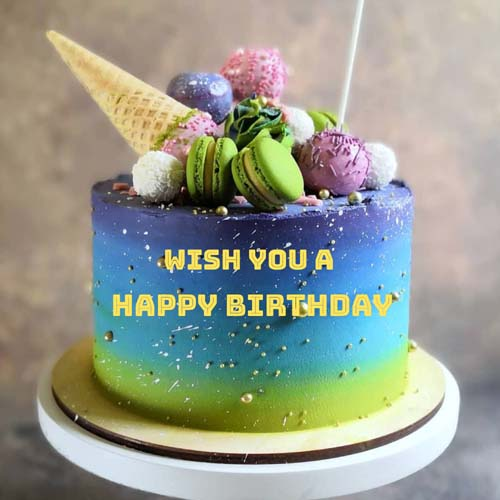 Multicolor Butter Cream Name Birthday Cake With Mecaroo