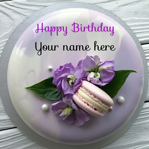 Lavender Color Flower Decorated Birthday Cake With Name
