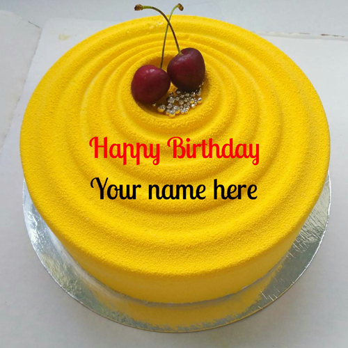 Mango Flavor Birthday Cake With Name For Friend