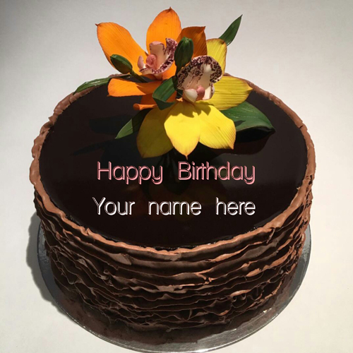Chocolate Layer Birthday Cake With Name On It