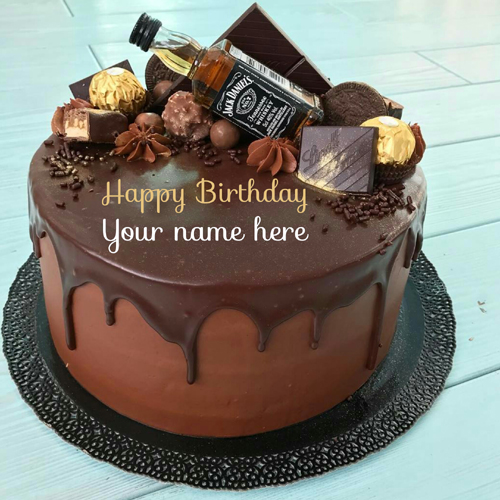 Delicious Chocolate Birthday Cake With Name On It