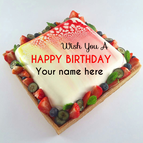 Write Name On Square Shaped Birthday Cake With Fruits