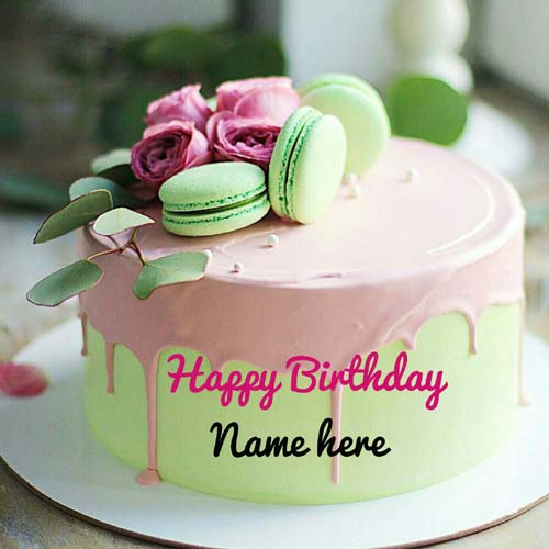 Pistachio Birthday Name Cake With Rose Flavor Buttercre