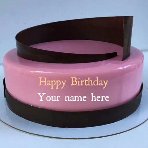 Rose Pink Birthday Cake For Mom With Name On It