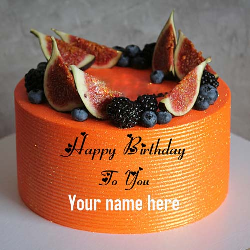 Orange Birthday Name Cake For Brother With Fruit Toppin