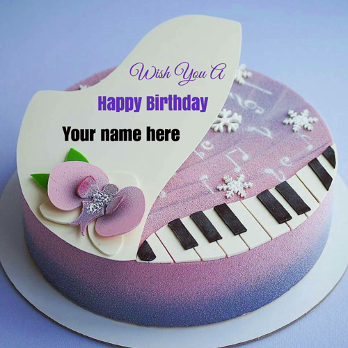 Piano Shaped Happy Birthday Cake With Name On It