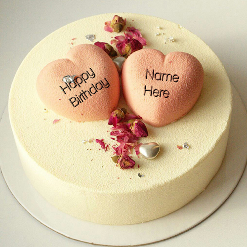 Vanilla Flavor Birthday Cake With Heart For Husband