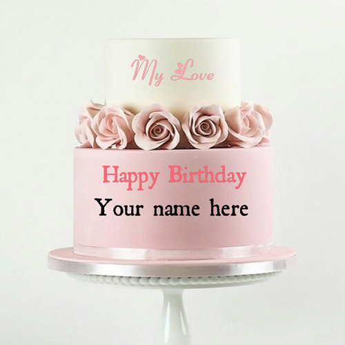 Double Layer Peach Birthday Cake With Name For Wife