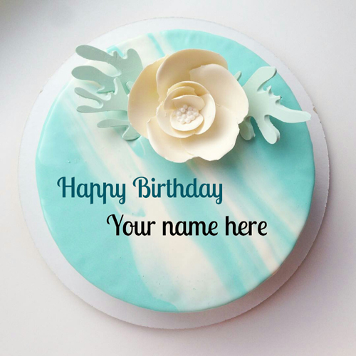 Blue and White Butter Cream Cake With Friend Name