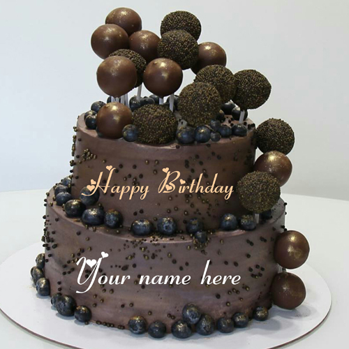 Double Layer Chocolate Ball Birthday Cake With Name