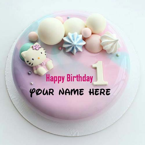 Hello Kitty 1st Birthday Cake With Name For Baby Girl