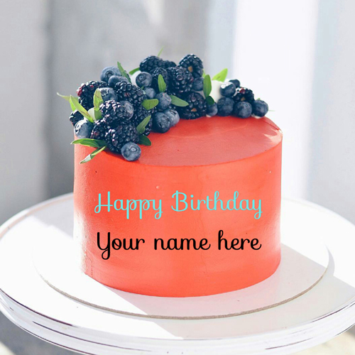 Orange Blueberry Birthday Cake With Name For Daddy