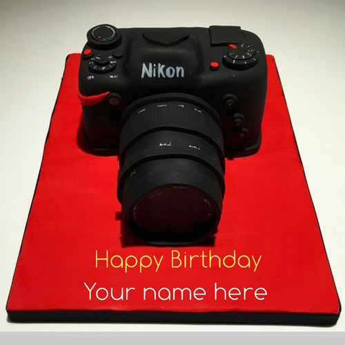 Photographer Birthday Name Cake With DSLR Camera