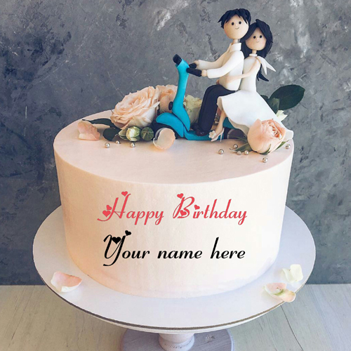Romantic Couple Birthday Cake For Lovely Wife With Name