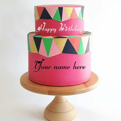 Strawberry Flavor Double Layer Cake With Name On It
