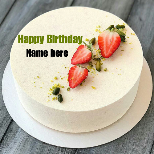 Vanilla Birthday Cake With Friend Name On It