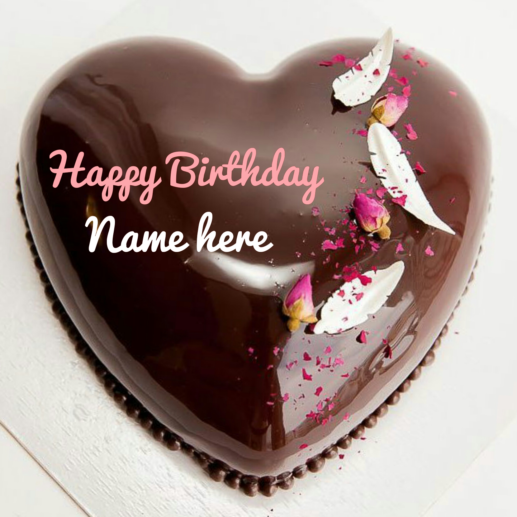 Molten Chocolate Heart Birthday Cake With Name For Love