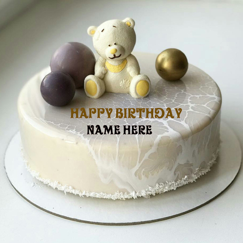 Teddy Bear Birthday Cake With Name For Love