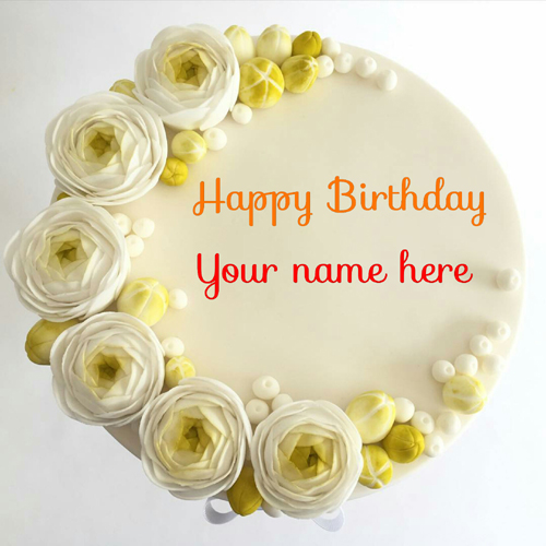 Butter Cream Flower Birthday Cake With Name On It