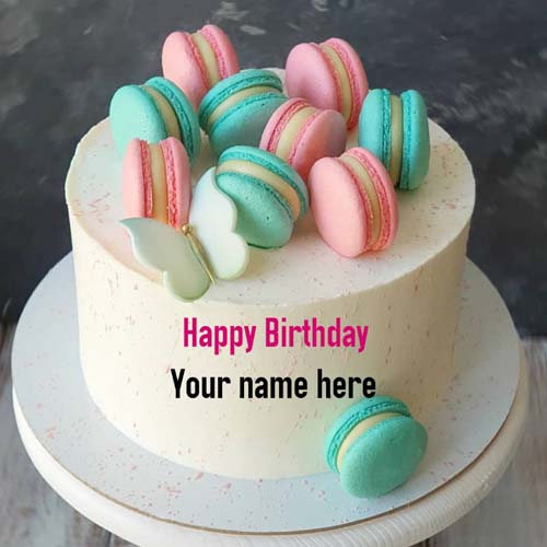 Macaroons Decorated Happy Birthday Cake With Name On It