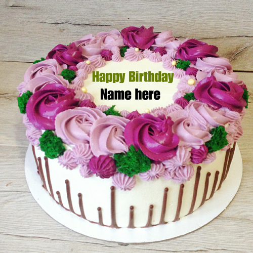 Write Name On Beautiful Flower Birthday Cake