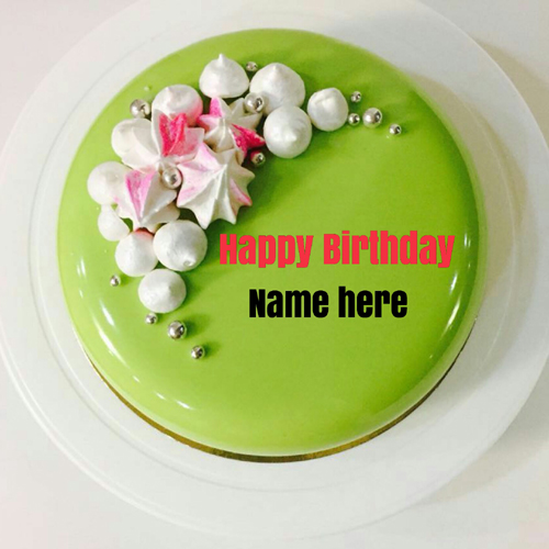 Green Apple Birthday Cake With Name For Sister