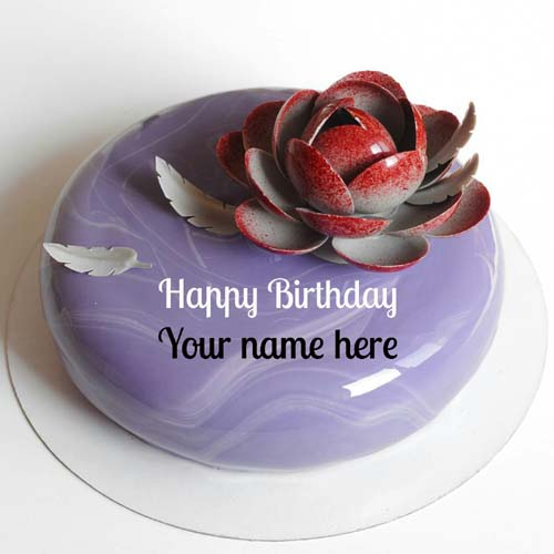Blackcurrant Birthday Name Cake With Flower For Sister