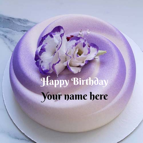 Lavender Flower Decorated Birthday Cake With Name