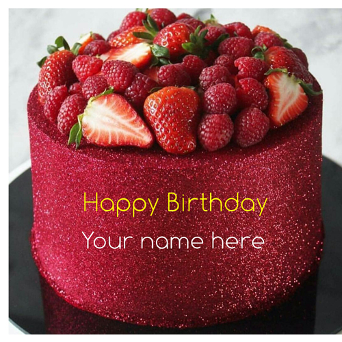Strawberry Toppings Birthday Cake With Name For Love
