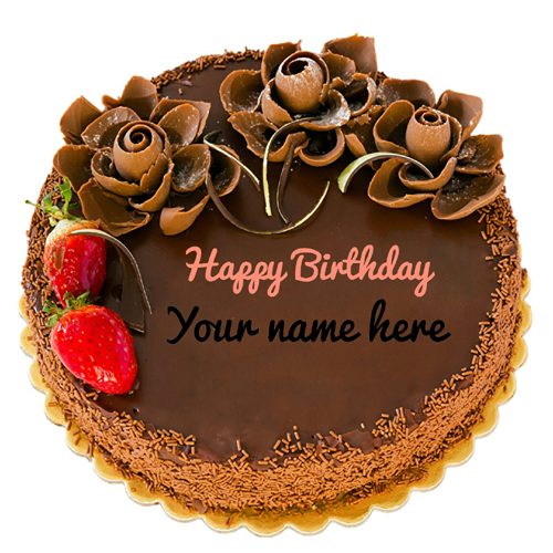 Chocolate Strawberry Flower Birthday Cake With Name