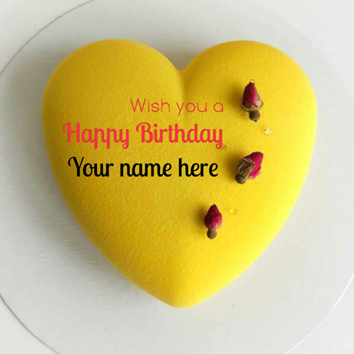 Yellow Color Heart Shape Velvet Birthday Cake With Name