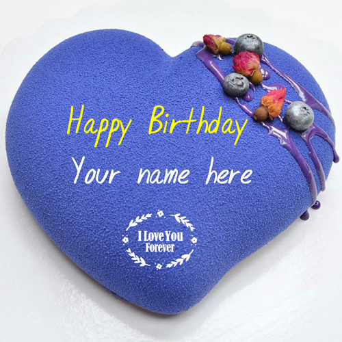 Heart Shaped Blue Color Velvet Birthday Cake With Name