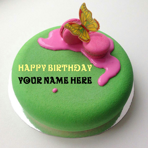 Green Apple Birthday Cake With Sister Name