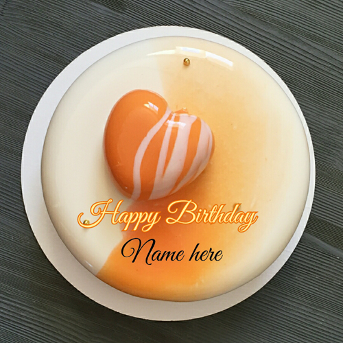 Vanilla Orange Birthday Cake With Name For Dear Wife