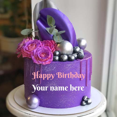 Write Name On Black Currant Birthday Cake For Friend