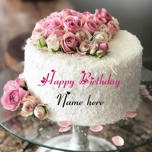 White Forest Flower Decorated Birthday Cake With Name