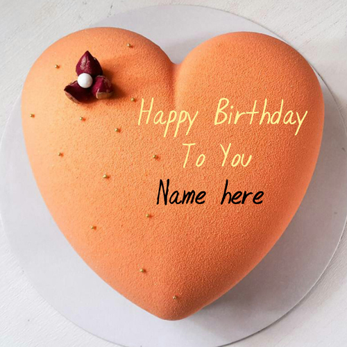 Orange Flavor Heart Birthday Cake With Name On It