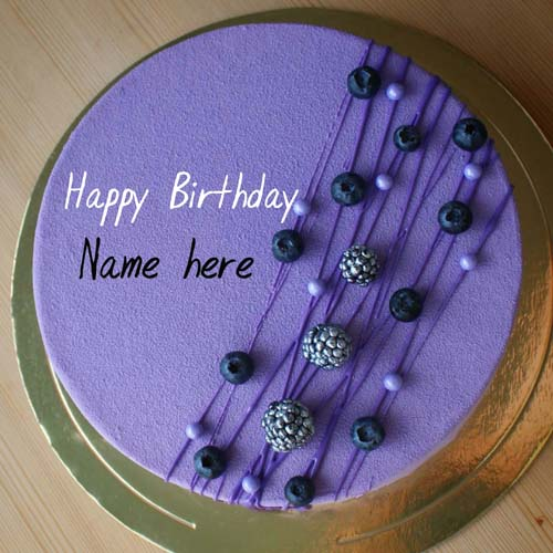 Blackcurrant Velvet Birthday Cake With Name For Father