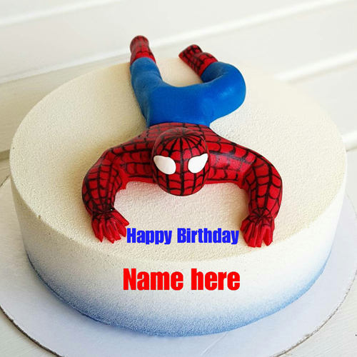 Spiderman Cartoon Birthday Cake For Kid With Name