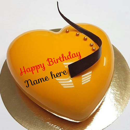 Orange Flavored Heart Shaped Birthday Cake With Name