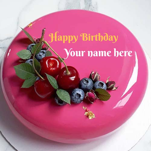 Strawberry Birthday Name Cake with Cherry On It