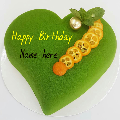 Mint Flavor Heart Shaped Birthday Cake With Name