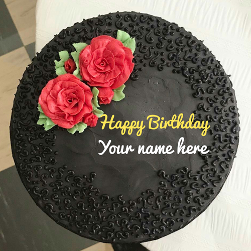 Dark Chocolate Flavor Birthday Cake With Name On It