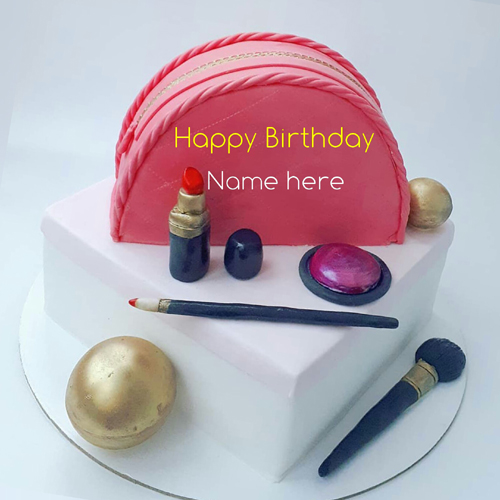 Write Name On Birthday Cake With Makeup Kit For Wife