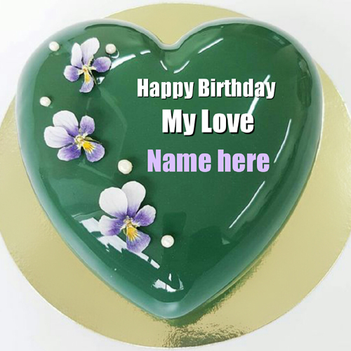 Mirror Glazed Heart Birthday Cake For Lover With Name
