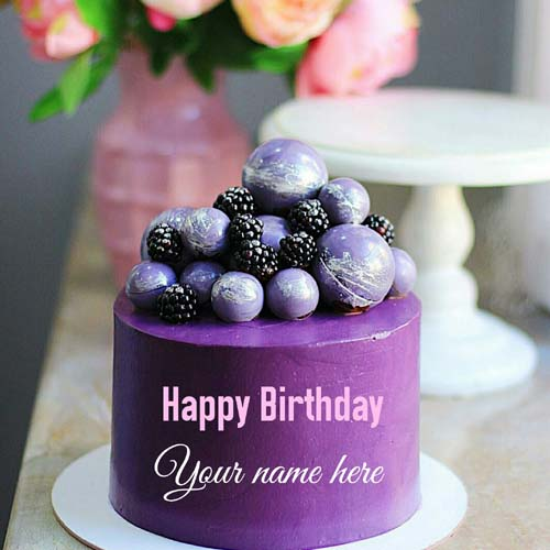 Blackcurrant Birthday Cake For Brother With Name On It