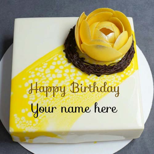 Write Name On Yummy Vanilla Pineapple Birthday Cake