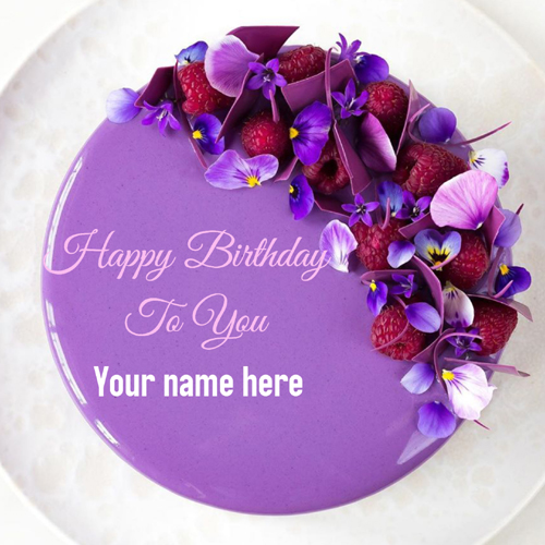 Lavender Color Flower Decorated Cake With Name On It