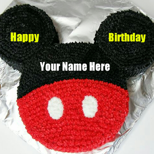 Cute Mickey Mouse Birthday Wishes Cake With Your Name