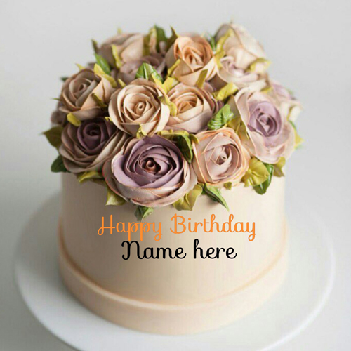 Write Name On Flower Decorated Cream Birthday Cake